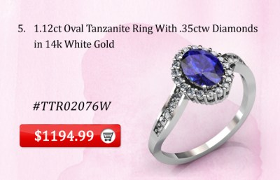 1.12 ct Oval Tanzanite Ring