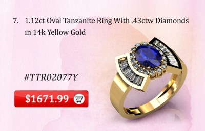 1.12ct Oval Tanzanite Ring in 14k Yellow Gold