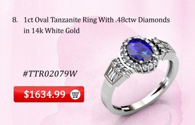 1ct Oval Tanzanite Ring in 14k White Gold