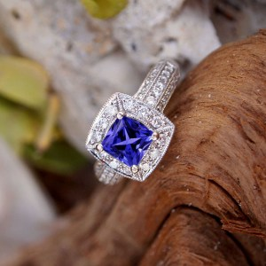 cushion tanzanite rings