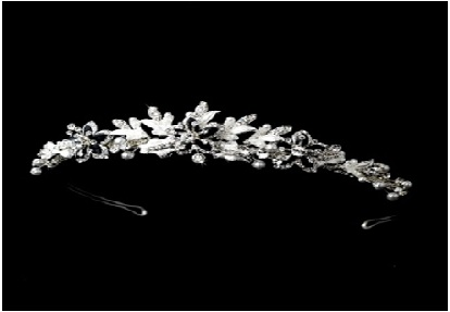 Floral Tiara with Pearls and Rhinestones