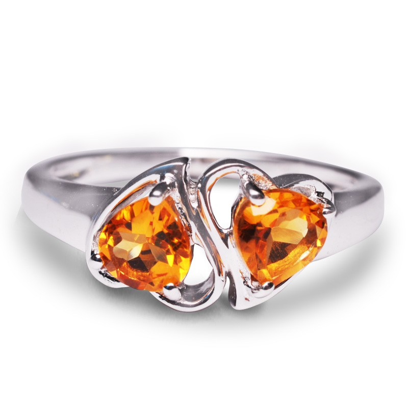 Heart Citrine Birthstone Ring in Silver