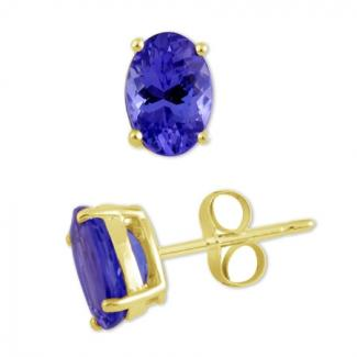 12x10 MM Oval Cut Tanzanite Studs Earrings in 14k Yellow Gold