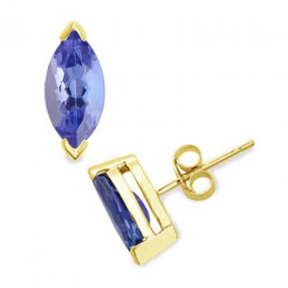 Marquise Cut Tanzanite Studs Earrings in 14k Yellow Gold