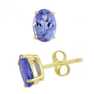 4x3 MM Oval Cut Tanzanite Studs Earrings in 14k Yellow Gold