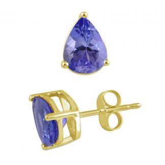 4 X 3 mm Pear Cut Tanzanite Studs Earrings in 14k Yellow Gold