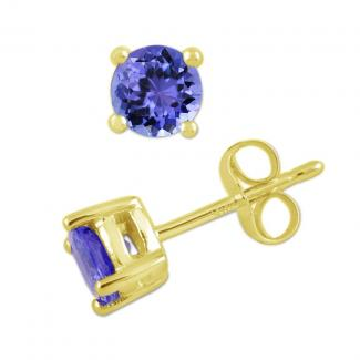 4.5 X 4.5 mm Round Cut Tanzanite Studs Earrings in 14k Yellow Gold