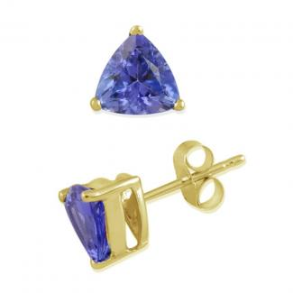 4.5x4.5 MM Trillion Cut Tanzanite Studs Earrings in 14k Yellow Gold