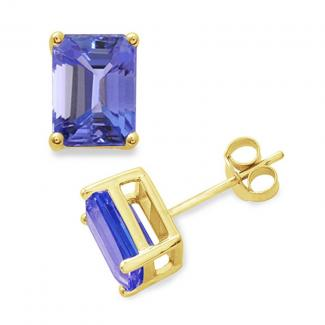 5 X 3 mm Emerald Cut Tanzanite Studs Earrings in 14k Yellow Gold