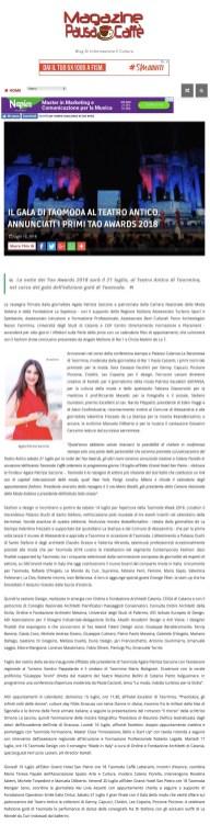 IL GALA DI TAOMODA AL TEATRO ANTICO. ANNUNCIATI I PRIMI TAO AWARDS 2018 - MAGAZINE PAUSA CAFFE' (2018-07-29 22-05-15)