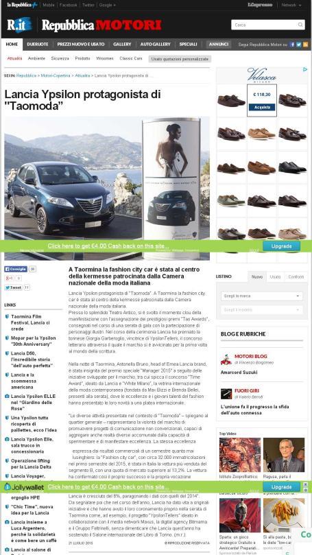 """Lancia Ypsilon protagonista di Taomoda"""" - Repubblica.it"""