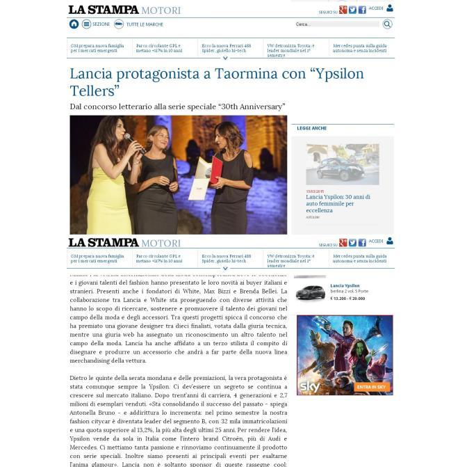 "Lancia protagonista a Taormina con ""Ypsilon Tellers"" - La Stampa"