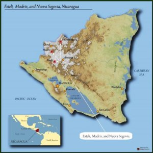 map of Nicaragua highlighting Segovia region