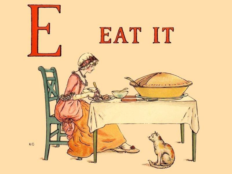 Letra E, de Eat, en inglés, y mujer comiendo