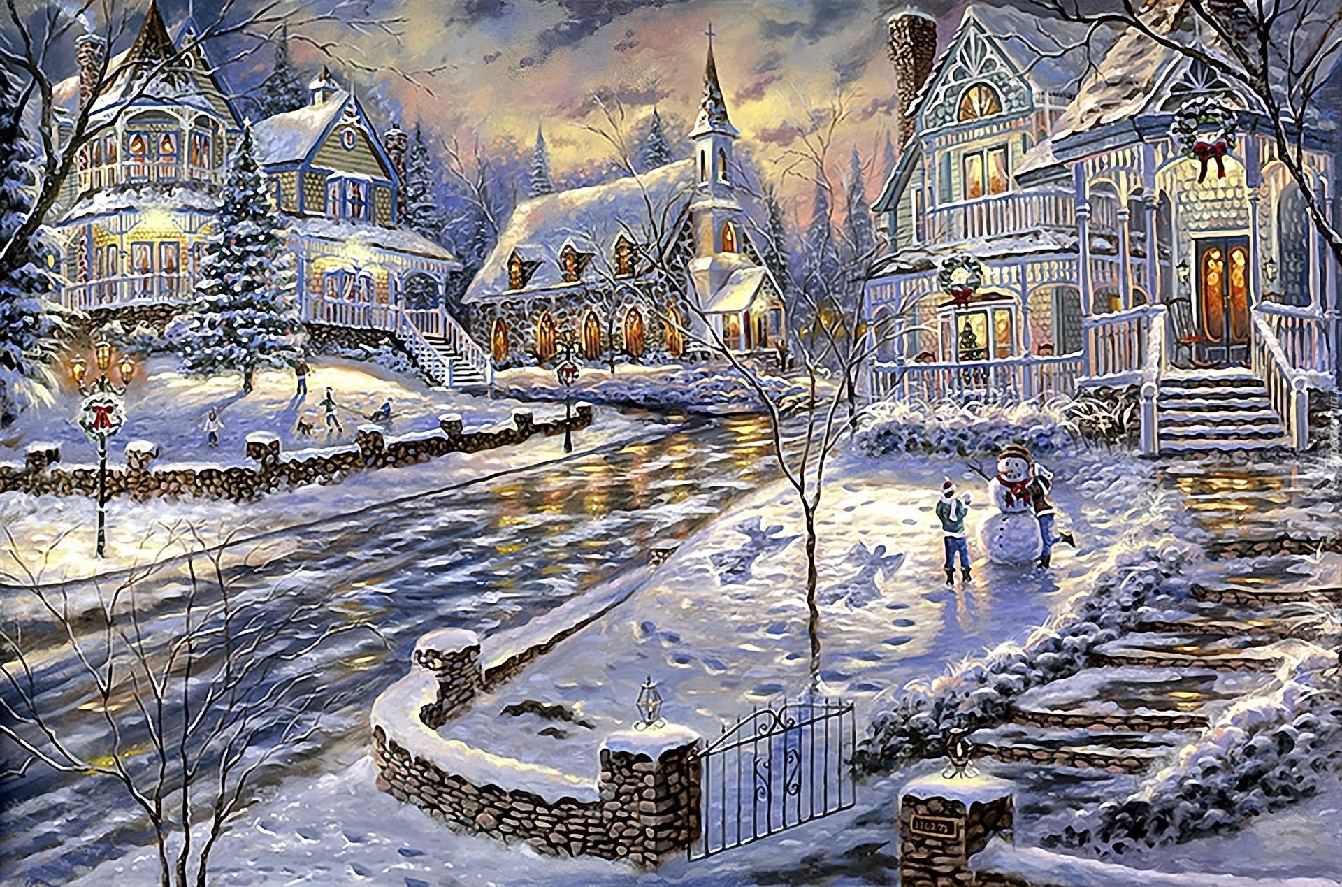 Widoczek Zimowy Witeczny Miasto