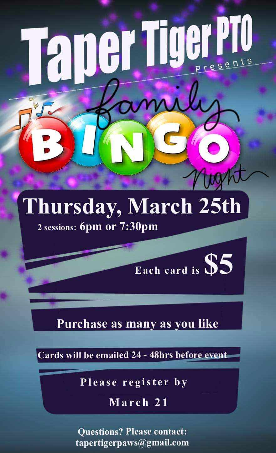 Please join us for a fun filled night of Bingo!