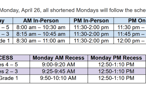 Schedule for Mondays