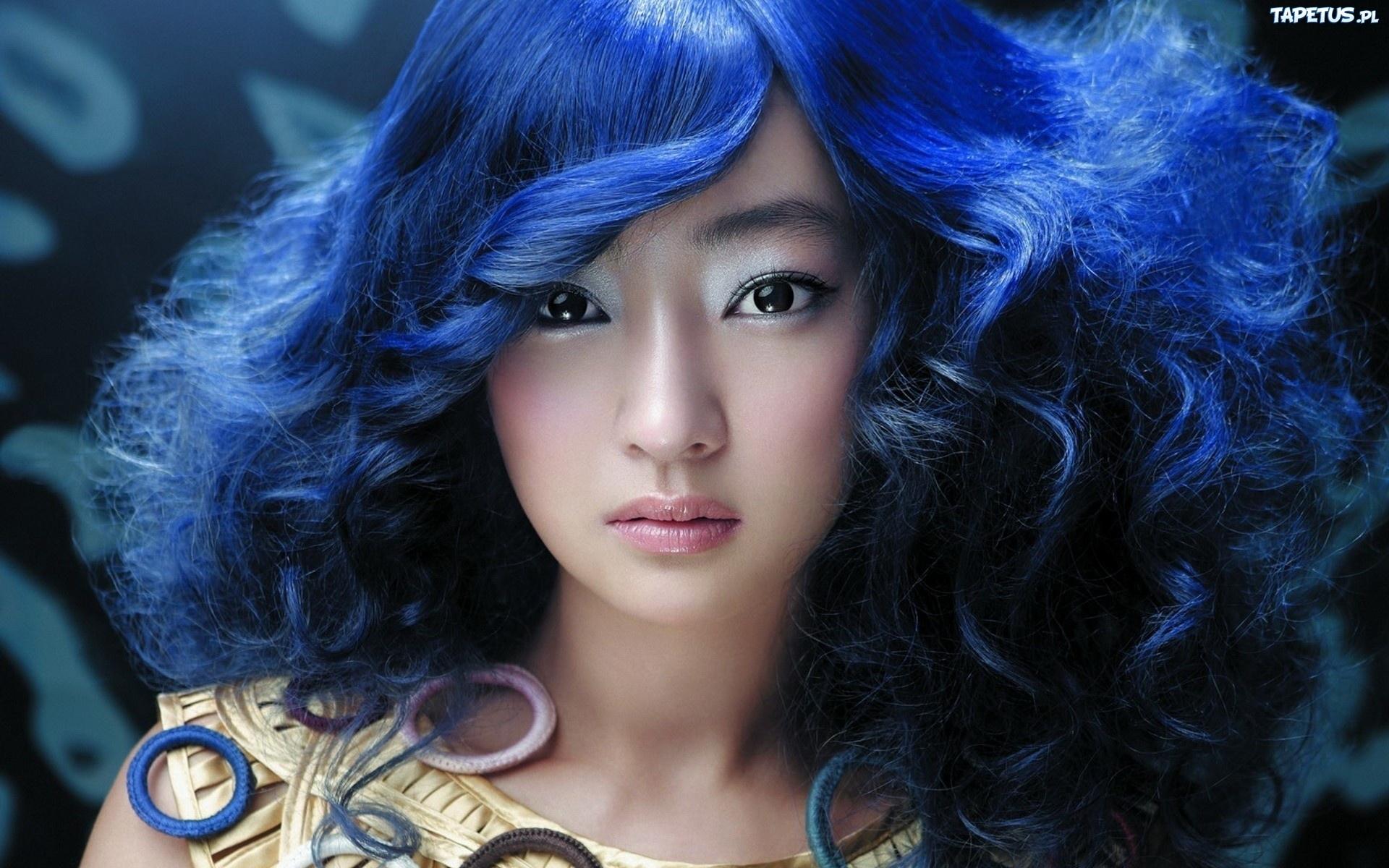 Kobieta Makija Niebieskie Wosy