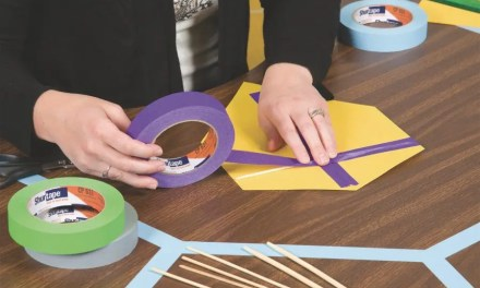 How is colored masking tape used in schools?