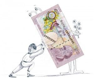 Man pushing Money away