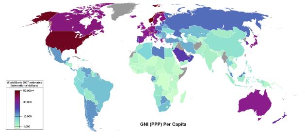 Ostovoimakorjattu bruttokansantuote (BKT) asukasta kohden. GNP (PPP) per capita.