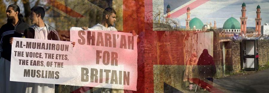 Mielenosoittajat vaativat sharialakia Britanniaan ja katunäkymä Bradfordista.