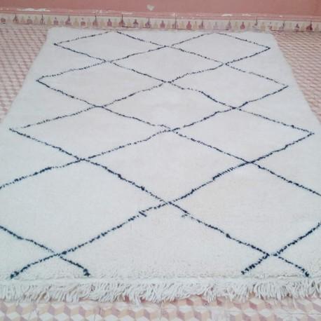 tapis berbere beni ouarain blanc et brun noir frais de port offerts