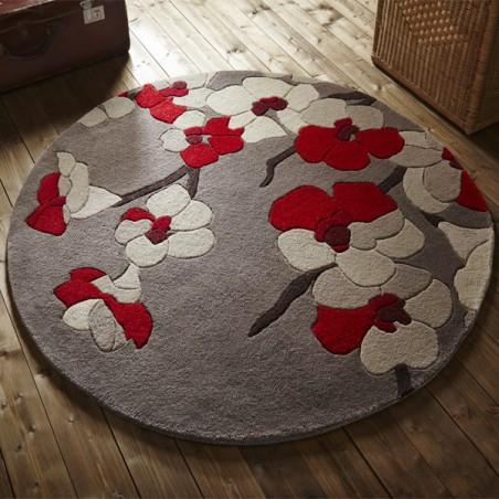 tapis de salon rond fleurs cerisier rouge par flair rugs