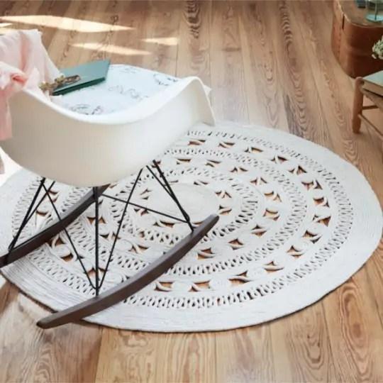 tapis rond tisse main crochet style
