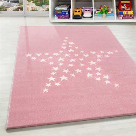tapis enfant chambre de bebe motif etoiles rose blanc