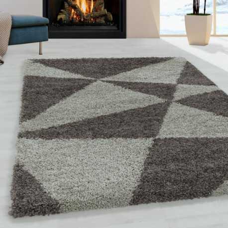 tapis de salon shaggy design a de triangle abstrait tapis design taupe