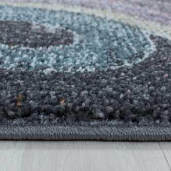 tapis pour enfants a poil ras motif de licorne etoile gris