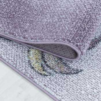 tapis pour enfants a poil ras motif de licorne etoile violet