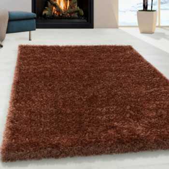 tapis modern soft shaggy a poils longs 50mm en couleur cuivre