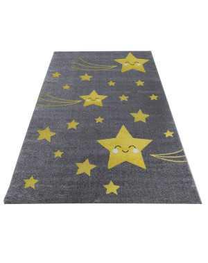 tapis chambre d enfant etoile filante gris jaune