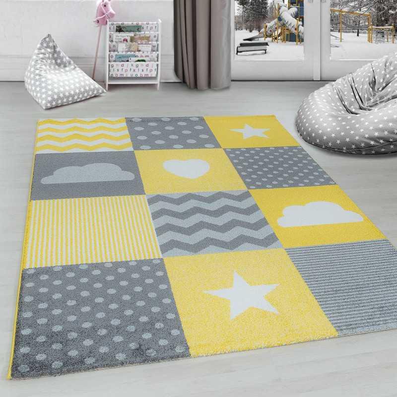 tapis pour chambre d enfants a carreaux nuage etoiles gris jaune blanc dimension 80x150 cm