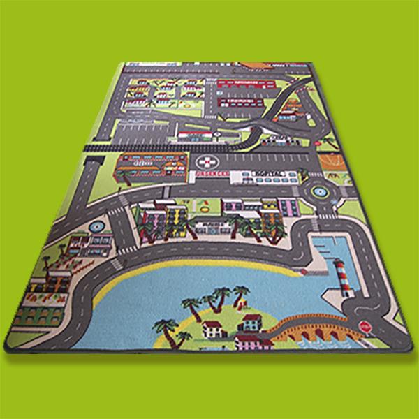 tapis enfant voiture dans la ville 130 x 200 cm