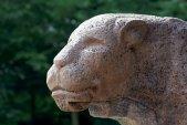 Diese steinernde Statue eines Löwen bewacht den Eingang zum Bergedorfer Schloss.