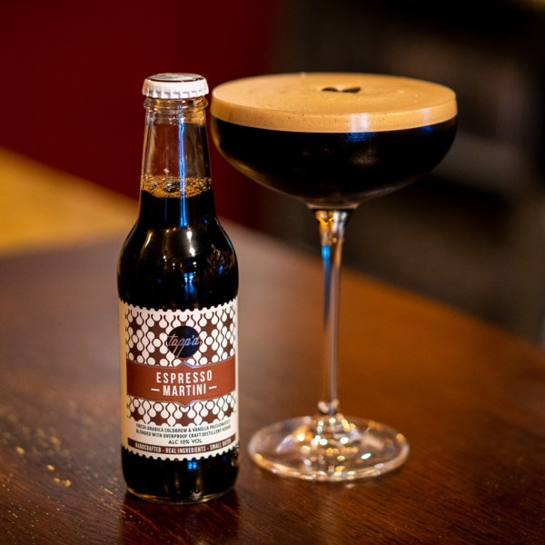 espresso martini ready to drink bottled cocktail drink and bottle image on bar top 3