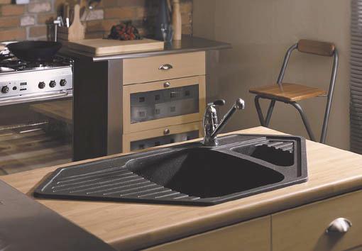 black composite corner kitchen sink