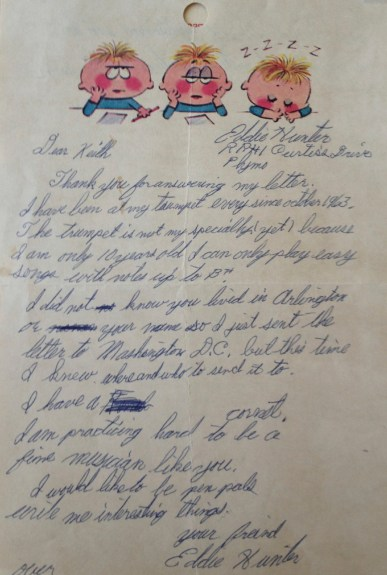 Eddie's letter in December 1963
