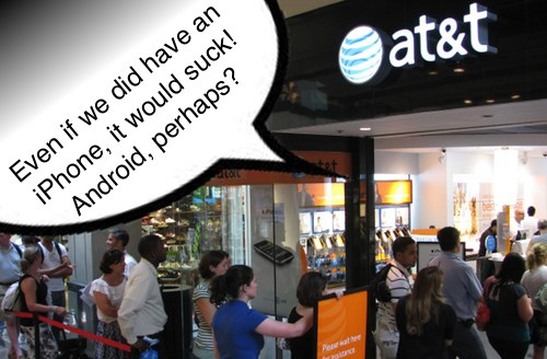 both AT&T and Verizon retail are believed to be pushing Android and Windows phone over iPhone -- call it revenge.