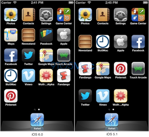 iPhone 5 Display on iOS 6 Fits Five Rows of Apps