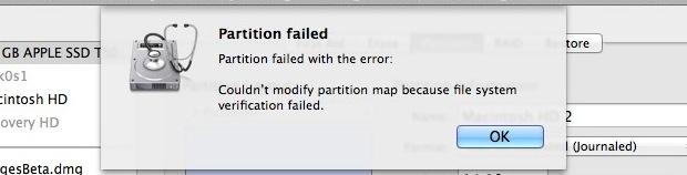 partition failed