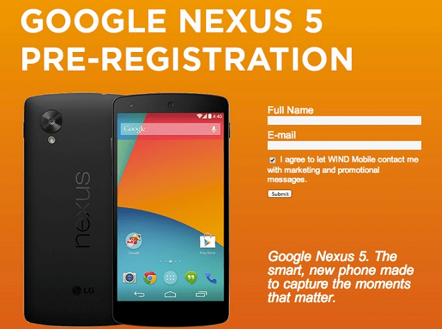 Nexus 5 WIND Mobile Pre-Registration Facebook Page