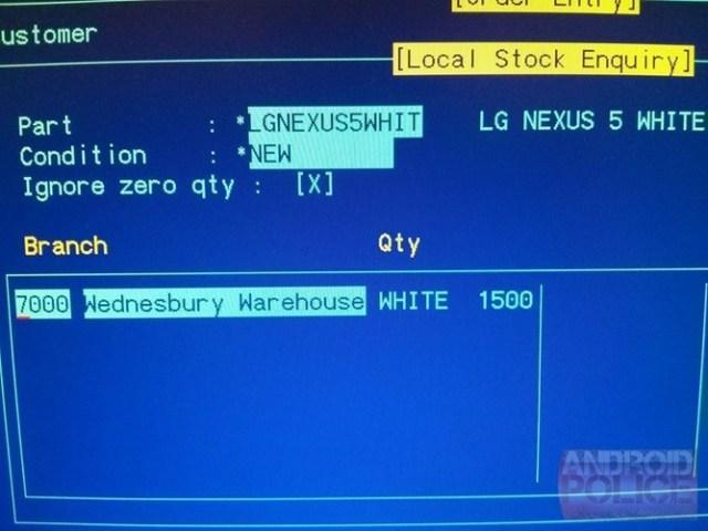 White Nexus 5 inventory list sighting
