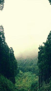 Green Cloudy Mountain iPhone 7 Wallpaper
