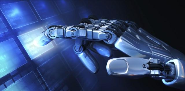 A robot touching a screen