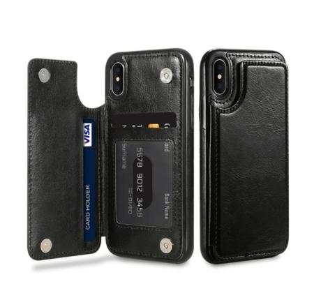 Black Flip Leather Wallet Case