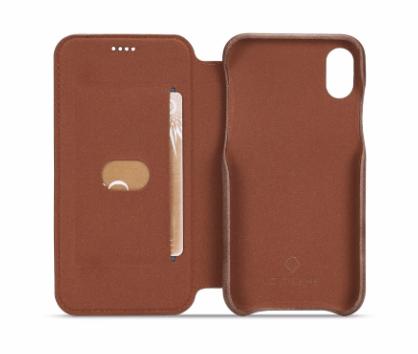 Flip Stand Leather Wallet Case Dark Brown Inside